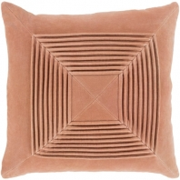 Surya Akira Peach Textured Stripe Squares Throw Pillow AKA005