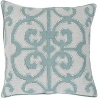 Surya Amelia Gray Damask Throw Pillow AL003