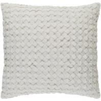 Surya Ashlar White Braided Shag Throw Pillow ALR004