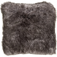 Surya Asena Black Mongolian Faux Fur Shag Throw Pillow AN001