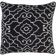Surya Adagio Black Damask Throw Pillow AO001