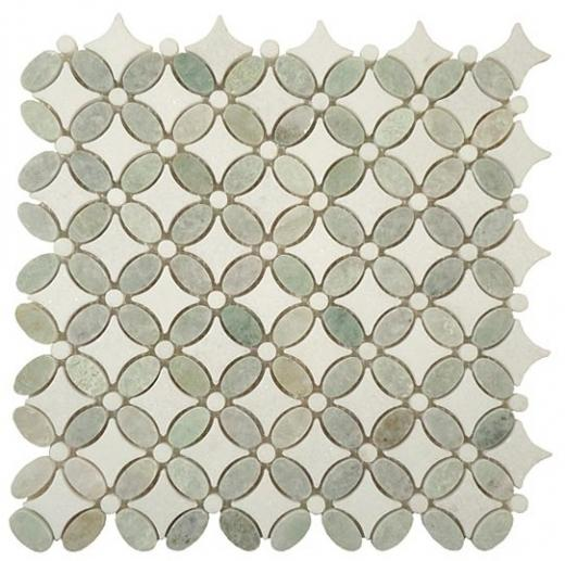 Tile Flower Ming Green Thassos White FS-74