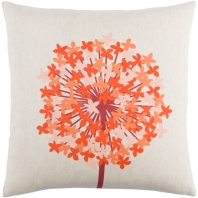 Surya Agapanthus Beige Floral Scandinavian Throw Pillow AP002