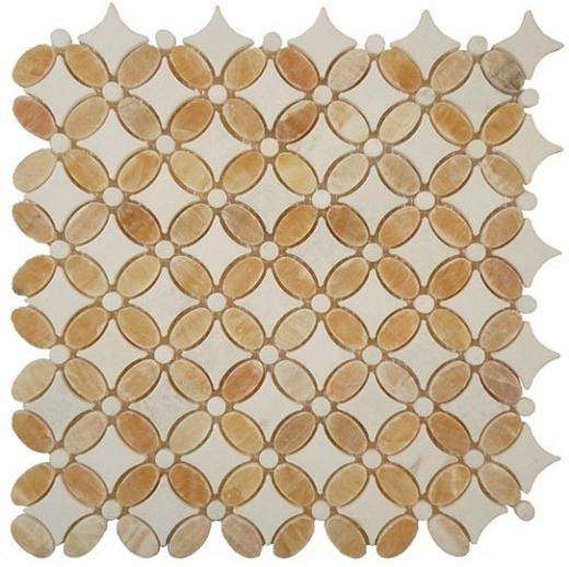 Tile Flower Honey Onyx Thassos White FS-75