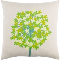 Surya Agapanthus Beige Floral Scandinavian Throw Pillow AP003