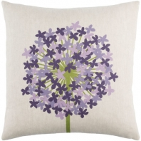 Surya Agapanthus Beige Floral Scandinavian Throw Pillow AP004