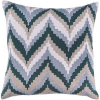 Surya Ikat Chevron Blue Scandinavian Throw Pillow AR053