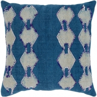 Surya Panta Blue Tribal Scandinavian Throw Pillow ATA002