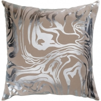Surya Crescent Beige Abstract Mid-Century Throw Pillow CSC010