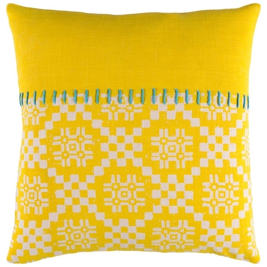 Surya Delray Yellow Scandinavian Throw Pillow DEA003