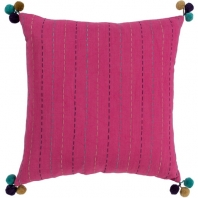 Surya Dhaka Pink Strips Thread Pom Poms Scandinavian Throw Pillow DH001