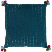 Surya Dhaka Green Strips Thread Pom Poms Scandinavian Throw Pillow DH002