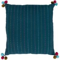 Surya Dhaka Green Strips Thread Pom Poms Scandinavian Throw Pillow DH002