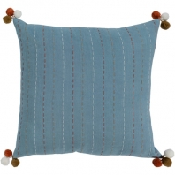 Surya Dhaka Blue Strips Thread Pom Poms Scandinavian Throw Pillow DH003