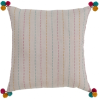Surya Dhaka Beige Strips Thread Pom Poms Scandinavian Throw Pillow DH004
