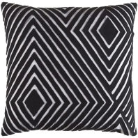 Surya Denmark Black Geometric Mid-Century Throw Pillow DMR001