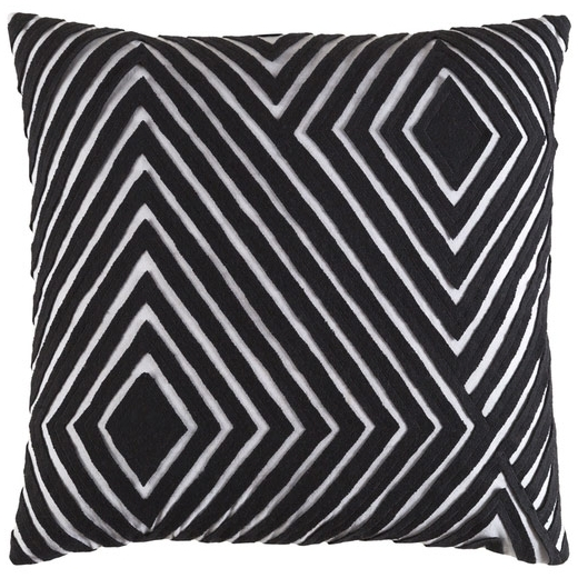 Surya Denmark Black Geometric Mid-Century Throw Pillow DMR001