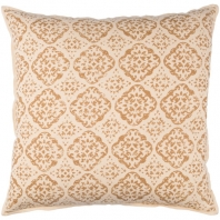 Surya D'orsay Beige Medallions and Damask Throw Pillow DOR004