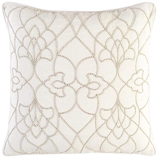 Surya Dotted Pirouette Beige Dotted Arabesque Shag Throw Pillow DP002