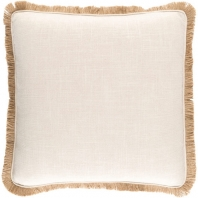 Surya Ellery Beige Fringe Throw Pillow ELY001