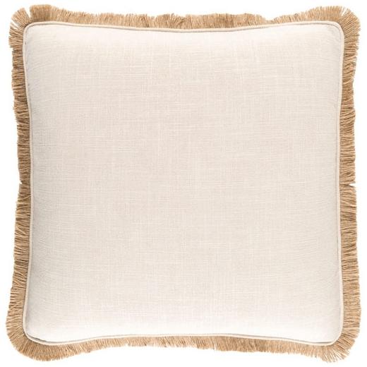Surya Ellery Beige Fringe Throw Pillow ELY001