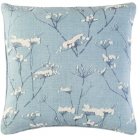 Surya Enchanted Blue Nature Scandinavian Throw Pillow EN001