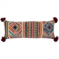 Surya Lena Multicolor Pom Poms Scandinavian Throw Pillow ENA001