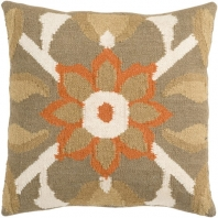 Surya Fallon Orange Floral Throw Pillow FA010