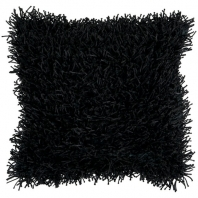 Surya Nitro Black Fur Shag Throw Pillow FA061
