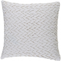 Surya Fa_ade White Basketweave Scandinavian Throw Pillow FC003