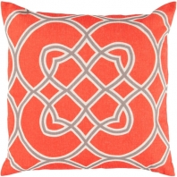 Surya Jorden Orange Arabesque Mid-Century Throw Pillow FF020