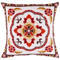 Surya Botanical White Floral Throw Pillow FF025