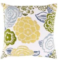 Surya Botanical Green Floral Throw Pillow FF027
