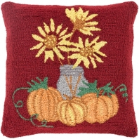 Surya Fall Harvest Red Floral Throw Pillow FHI001