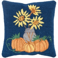 Surya Fall Harvest Blue Floral Throw Pillow FHI002