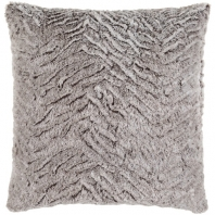 Surya Felina Gray Faux Fur Shag Throw Pillow FLA002