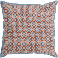 Surya Francesco Blue Geometric Flange Mid-Century Throw Pillow FNC006