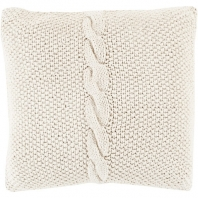 Surya Genevieve White Braided Throw Pillow GN004