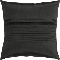 Surya Solid Pleated Black Throw Pillow HH027