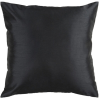 Surya Solid Luxe Black Throw Pillow HH037