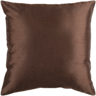 Surya Solid Luxe Brown Throw Pillow HH040