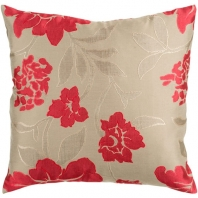 Surya Blossom Beige Floral Throw Pillow HH047