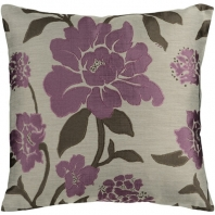 Surya Blossom Beige Floral Throw Pillow HH048