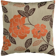 Surya Blossom Beige Floral Throw Pillow HH053