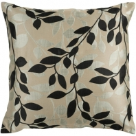 Surya Wind Chime Beige Floral Throw Pillow HH061