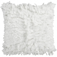Surya Claire White Textured Shag Throw Pillow HH069