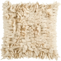 Surya Claire Beige Textured Shag Throw Pillow HH070