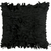 Surya Claire Black Textured Shag Throw Pillow HH072