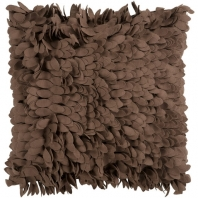 Surya Claire Brown Textured Shag Throw Pillow HH073