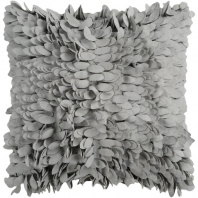Surya Claire Gray Textured Shag Throw Pillow HH074